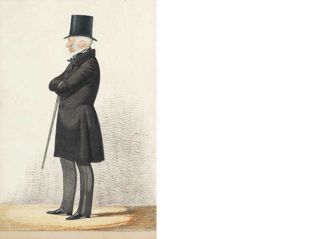 Richard Dighton (British, 1795-1880) A caricature of George Lewis; together with two others by the same hand, similar, depicting gentlemen in top hats holding umbrellas