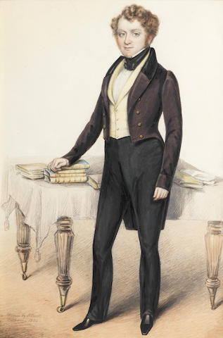 Albin Roberts Burt (British, 1783-1842) A young gentleman standing next to a table; Mr. Frederick Brown; A young gentleman holding a top hat