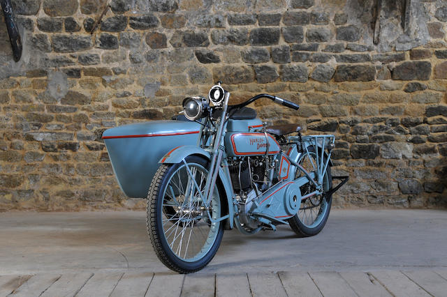 c.1917 Harley-Davidson 1,000cc Model F Motorcycle Combination