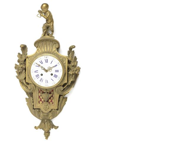 A French 19th century Louis XV style gilt-bronze cartel clock
