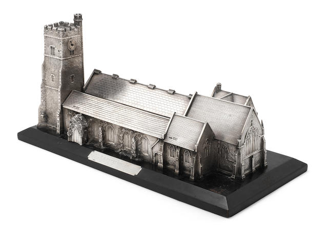 A silver model of a church with timepiece by Elkington & Co Ltd, London 1905