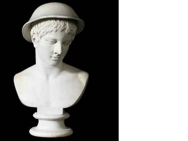 A Swiss late 18th century white marble bust of Parisby Alexander Trippel, Roma, dated 1783
