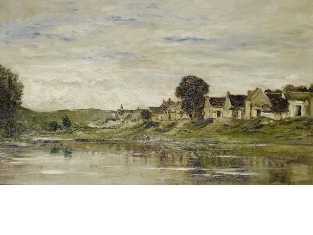 Charles-François Daubigny (French, 1817-1878) Les Bords de la Seine à Bonnières