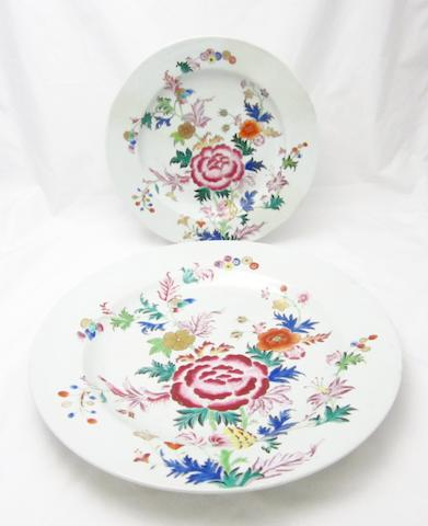 A pair of very large famille rose plates, Qianlong, 39cm wide