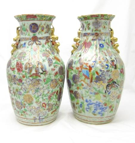 A pair of celadon ground Canton export vases Circa 1900
