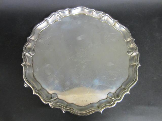 A George I silver circular salver by Philip Rainaud, London 1718