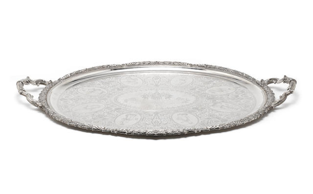 An impressive Victorian silver two-handled tray in a fitted presentation case, to Captain E.A.Inglefield RN by Elkington & Co, Birmingham 1853