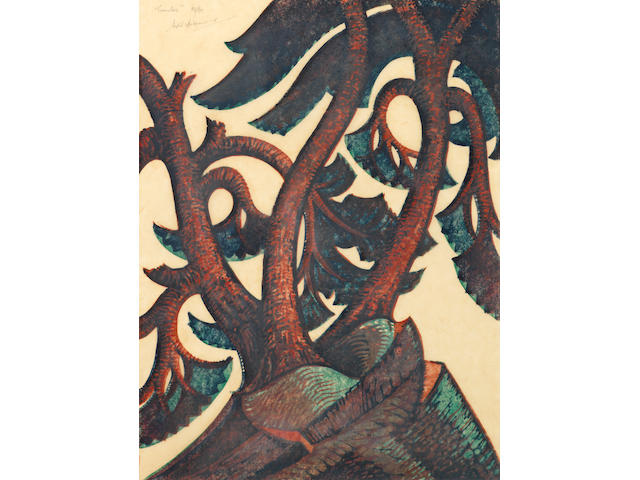 Sybil Andrews, CPE (British/Canadian, 1898-1993) Tumulus Linocut printed in Venetian red, crimson, viridian and Chinese blue, 1936, a richly inked impression, on buff oriental laid tissue, signed, titled and numbered 19/60 in pencil, with margins, 298 x 220mm (11 3/4 x 8 5/8in)(B)