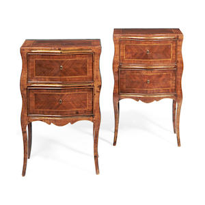 A pair of Italian early 20th century rosewood serpentine commodinos in the Transitional style