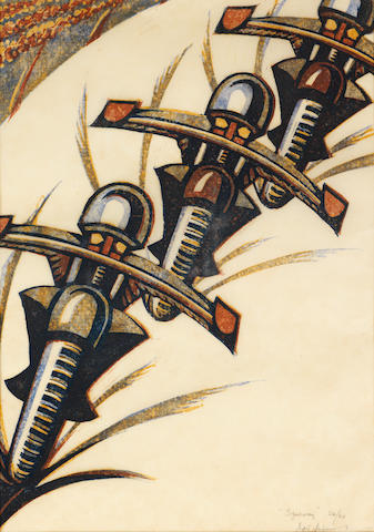 Sybil Andrews, CPE (British/Canadian, 1898-1993) Speedway Linocut printed in raw sienna, Venetian red, permanent blue, Chinese blue, 1934, a good impression, on cream oriental laid, signed, dated and numbered  24/60 in pencil, with margins, 326 x 233mm (12 3/4 x 9 1/8in)(B)