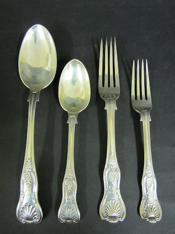 A Victorian silver King's pattern with diamond heel cutlery service for six settings by Charles Boyton, London 1895