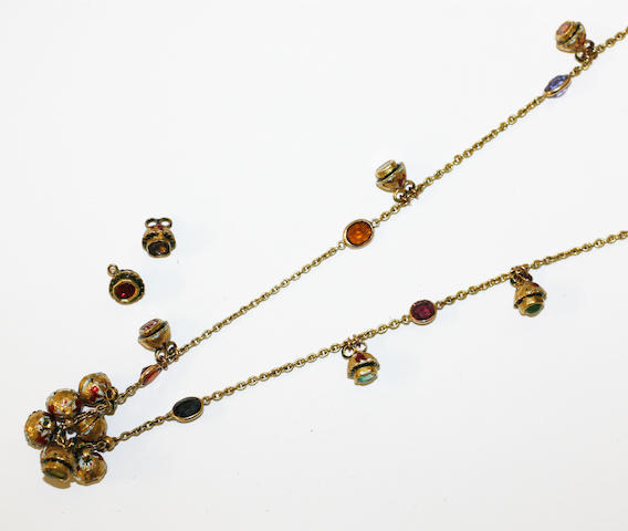 An enamel and vari gem-set longchain