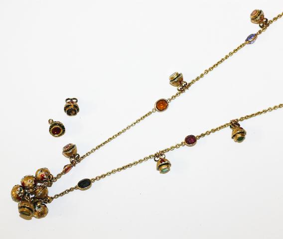 An enamel and vari gem-set longchain