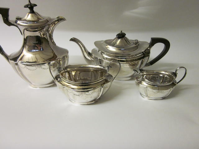 A silver four piece tea service,  Sheffield 1919,   (4)