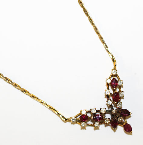 A ruby and diamond pendant necklace,