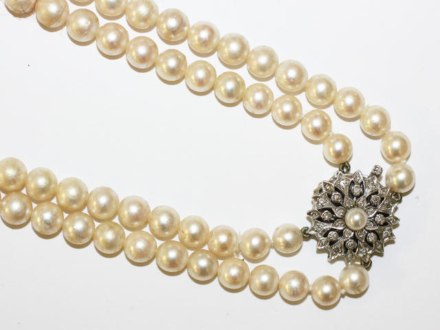 A cultured pearl and diamond necklace,
