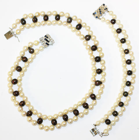 A cultured pearl, freshwater pearl, sapphire and diamond matched necklace and bracelet suite, (2)