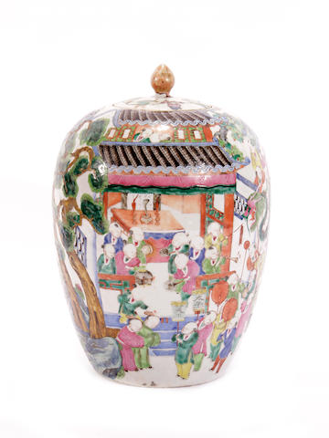 A Canton export famille rose oviform vase and cover, circa 1900