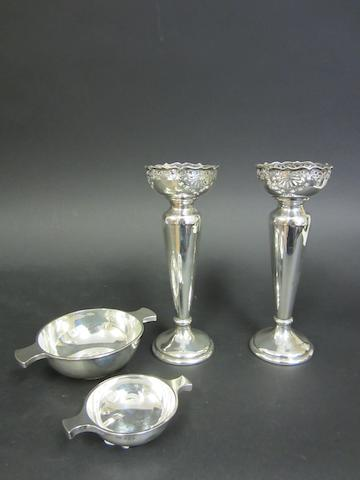 A Victorian silver pair of vases by Walker & Hall, Sheffield 1896  (4)