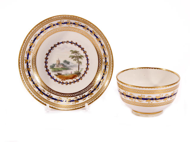 A Derby teabowl and saucer by Zachariah Boreman, circa 1785-90