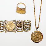 A collection of sovereign set jewellery,  (3)