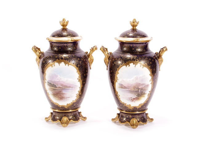 A pair of Coalport vases and covers, circa 1900