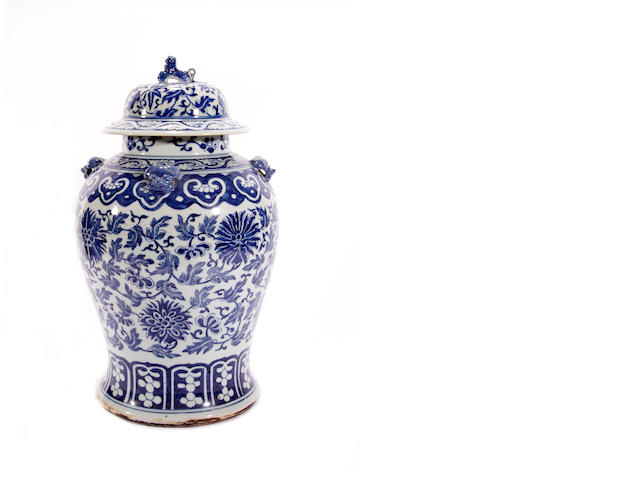 A Chinese blue and white vase and cover, 19th century