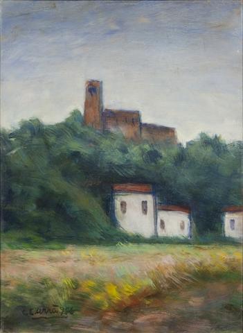 Carlo Carrà (Italian, 1881-1966) Paessaggio in Brianza