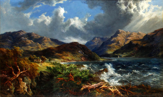 McNeil MacLeay, ARSA (British, 19th Century) Storm clouds over a loch