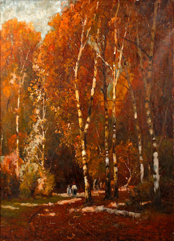 John Noble Barlow (British, 1861-1917) Figures walking in autumnal woodlands