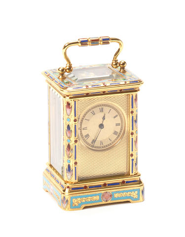 A late 19th century French champleve enamel miniature carriage timepiece for the Chinese market