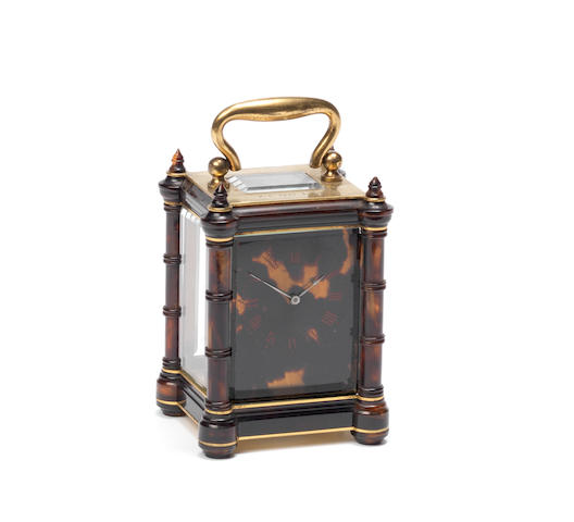 A late 19th century French tortoiseshell miniature carriage timepiece Drocourt