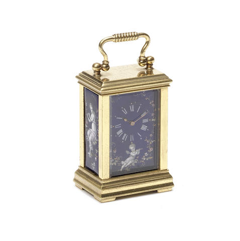 A late 19th century French gilt brass and Limoges enamel miniature carriage clock