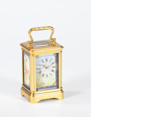 A late 19th century French porcelain mounted miniature carriage timepiece Henri Jacot