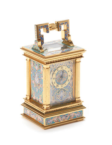 A late 19th century French cloisonne enamel miniature carriage timepiece.