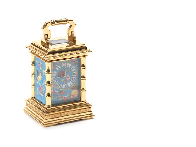 A late 19th century French Aesthetic Movement miniature carriage timepiece