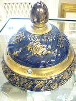 An Ironstone blue ground pot pourri bowl and cover 19th century
