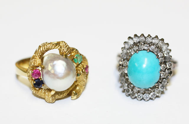 A turquoise and diamond cluster ring and a vari gem-set ring, (2)