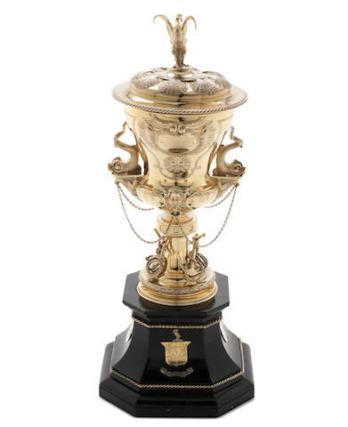 A large Victorian silver-gilt presentation cup and cover to Captain E.A.Inglefield RN by Elkington & Co Ltd,  London 1963