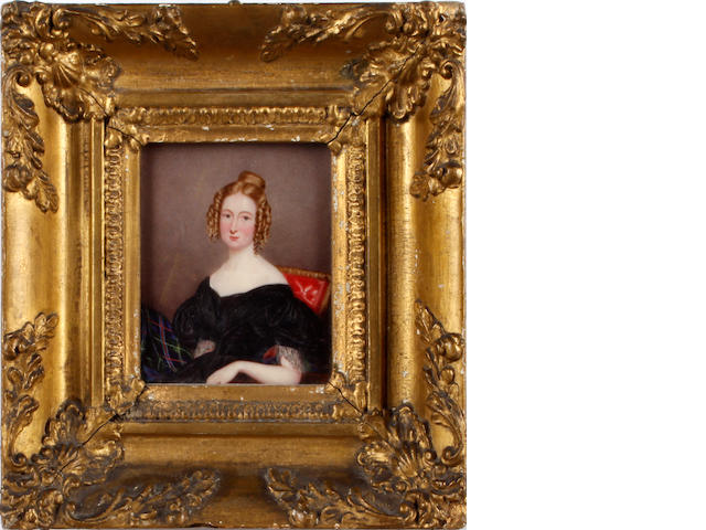English School, circa 1840 A Lady, seated on a red upholstered chair, wearing black décolleté dress with lace sleeve trim and gathered at the bust, her blonde hair partially upswept and curled in ringlets