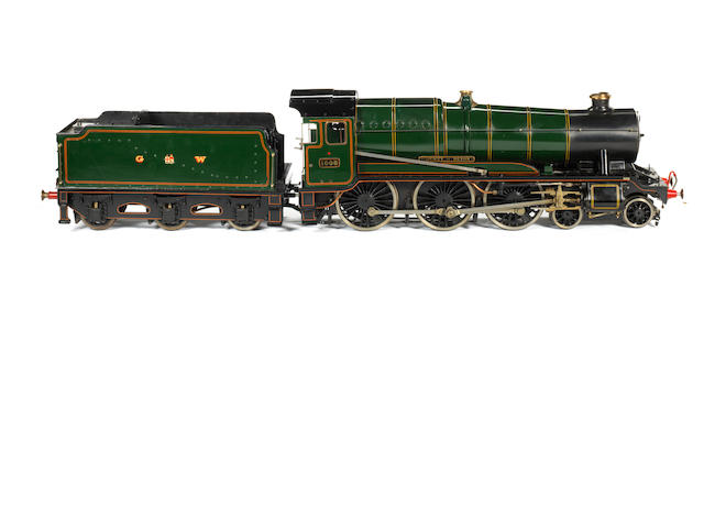 A finely engineered and well detailed 3 1/4in gauge model of the GW County Class 4-6-0 locomotive and tender No.1005 'County of Devon'