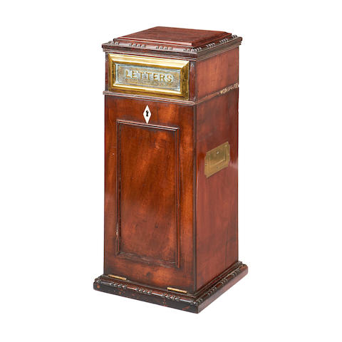 A Victorian mahogany and brass mounted letter box
