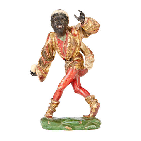 After Erasmus Grasser, German (c.1450–c.1515) A 19th century polychrome and parcel gilt decorated figure of a morris dancer
