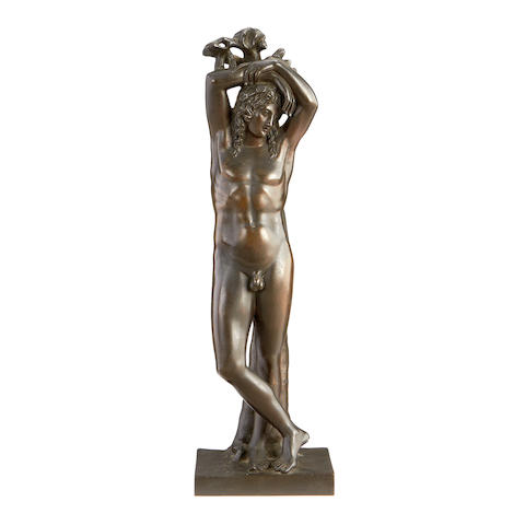 A late 19th century French bronze of a male nude