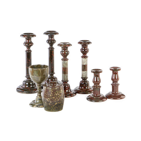 A group of 19th century serpentine marble items