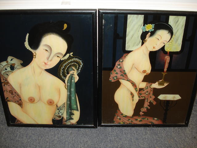 20th Century Japanese school, nudes, painted on glass