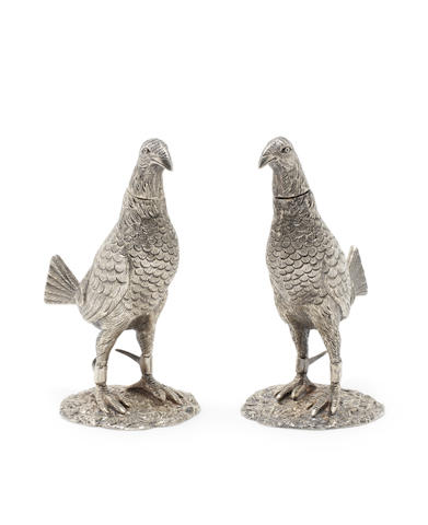 A pair of novelty silver-gilt 'game-bird' peppers,  struck with the maker's mark for F.B. Thomas & Co overstriking another,  London 1929