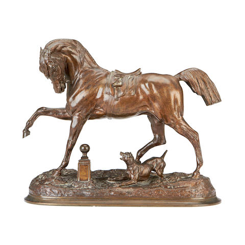 Pierre Lenordez (French, 1815-1892)  A bronze model of an Arab stallion Angelo cast by Boyes