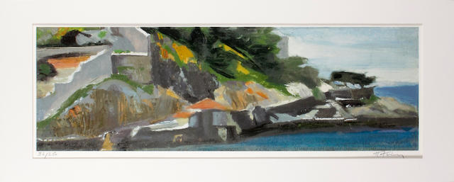 Panagiotis Tetsis (Greek, born 1925) Shipyard coloured print, signed in pencil (lower right) and numbered '59/350' (lower left), to be sold together with 3 additional prints, 'Sunset', 'Boats' and 'Landscape' by the same hand.(24 x78 cm) 4