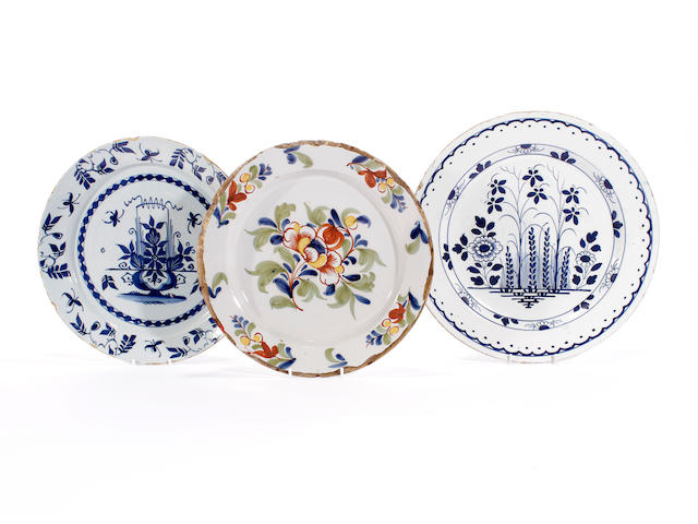 Three delft plates, 18th century
